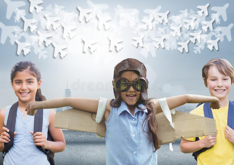 Pilot girl and other kids with bright background and planes graphics. Digital composite of Pilot girl and other kids with bright background and planes graphics royalty free stock photos