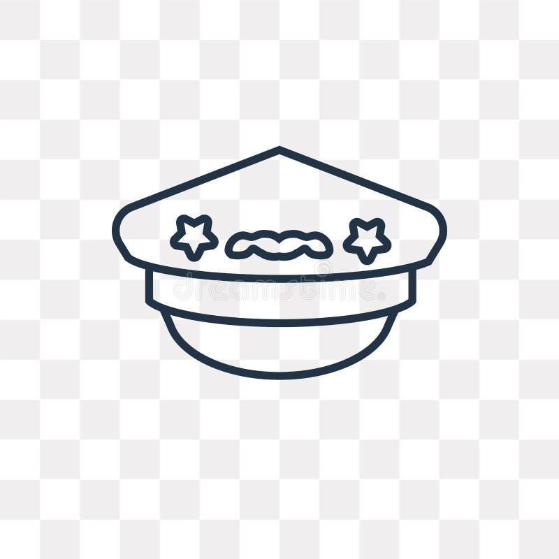 Pilot- Hat vektorsymbol som isoleras på genomskinlig bakgrund som är linjär stock illustrationer
