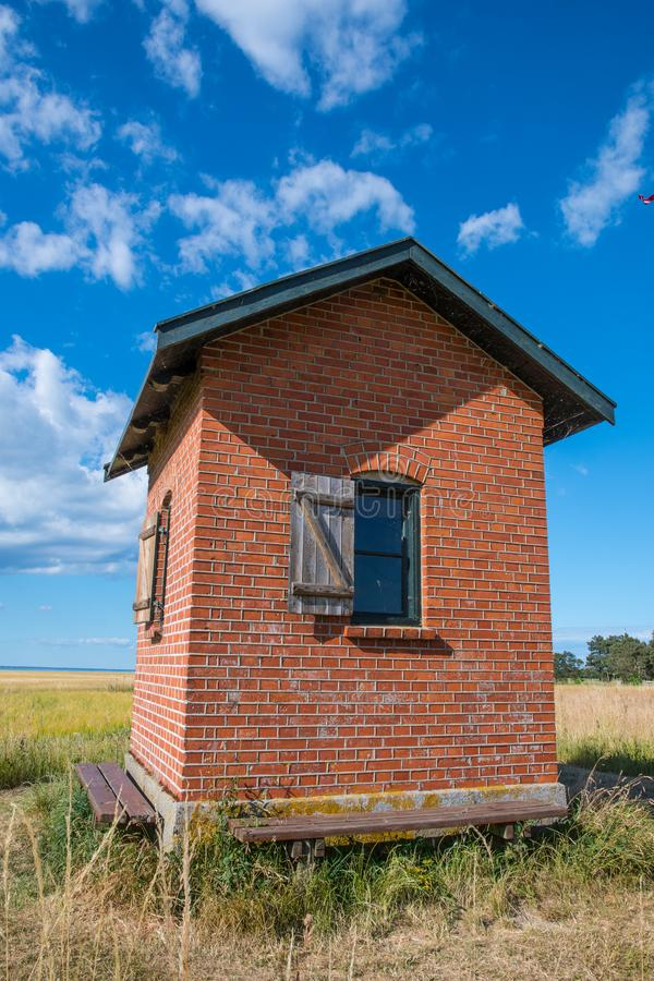 Pilot house lookout on island of Nyord in Denmark stock image