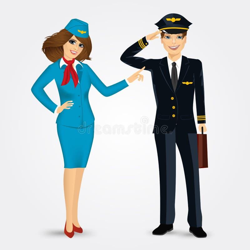 Pilot i stewardesa w mundurze ilustracja wektor