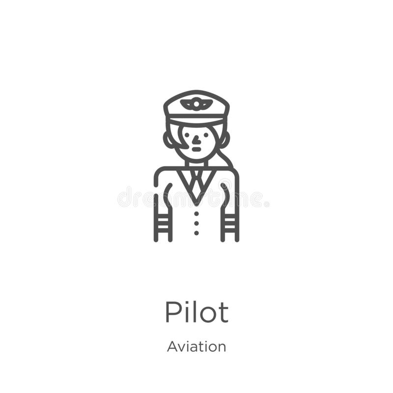Pilot icon vector from aviation collection. Thin line pilot outline icon vector illustration. Outline, thin line pilot icon for. Pilot icon. Element of aviation vector illustration