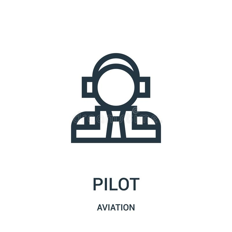 Pilot icon vector from aviation collection. Thin line pilot outline icon vector illustration. Linear symbol for use on web and. Mobile apps, logo, print media stock illustration