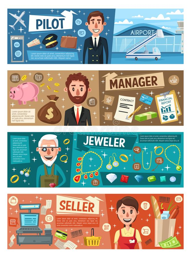 Pilot, manager, seller and jeweler professions royalty free illustration