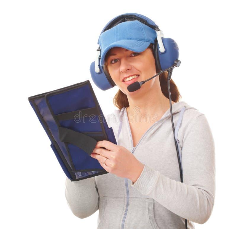Pilot mit Kopfhörer stockfoto