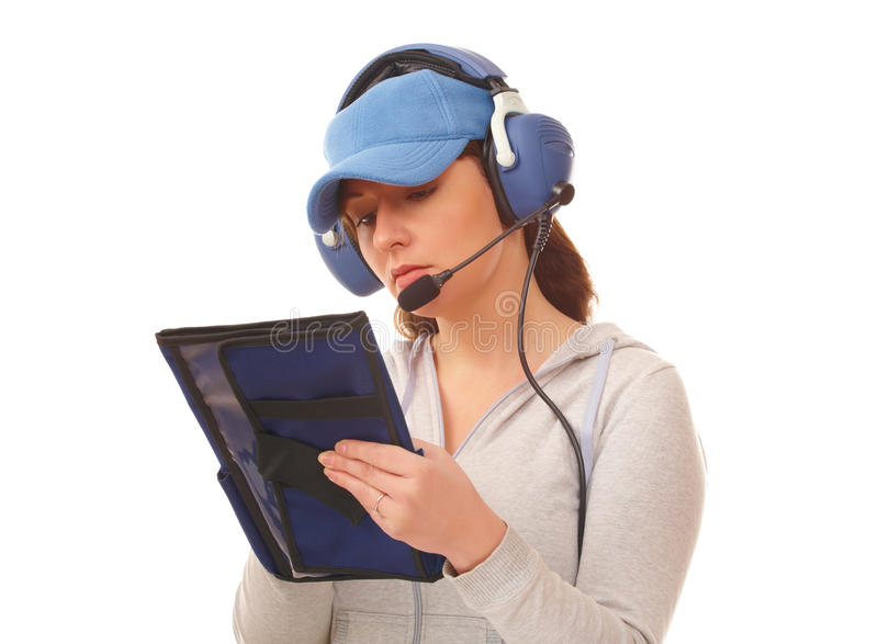 Pilot mit Kopfhörer lizenzfreie stockfotos