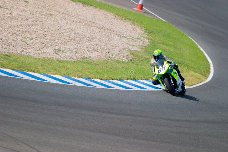 Pilot motorcycling formuły ekstremum w Hiszpańskim mistrzu obrazy stock