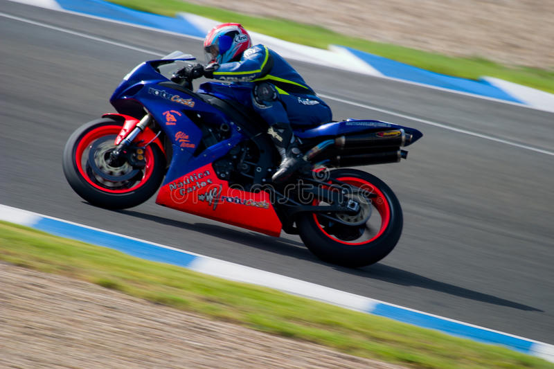 Pilot of motorcycling of Formula Extreme in the Spanish champion stock photo