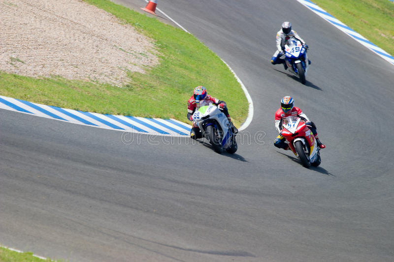 Pilot of motorcycling of Supersport in the Spanish championship royalty free stock image