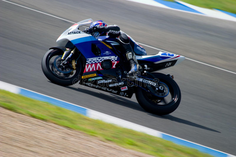 Pilot of motorcycling of Supersport in the Spanish championship stock photography