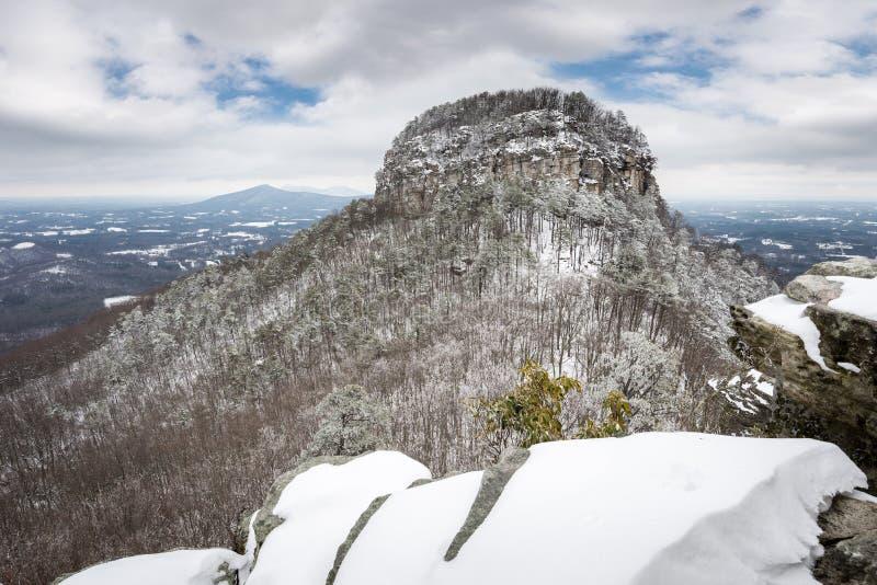 Pilot Mountain-Winter stockfotografie