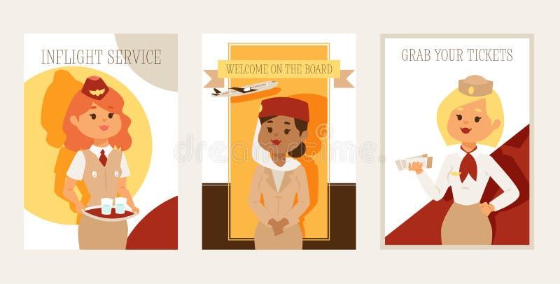 Pilot och folk för marskalk för stewardess för tecken för kvinna för besättning för stewardessvektorflyg som härlig reser flyg på royaltyfri illustrationer