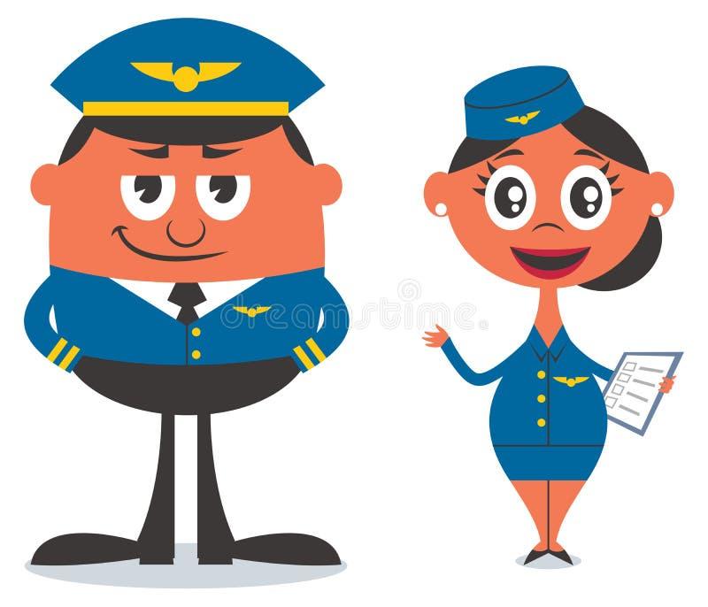 Pilot- och luftlyxfnask royaltyfri illustrationer