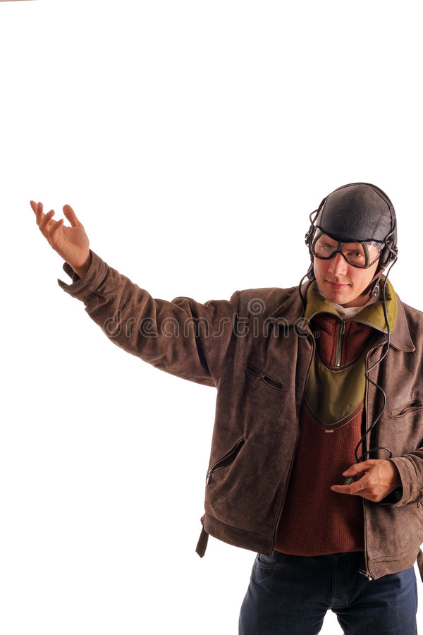 Pilot in old uniform shows upstairs stock photography