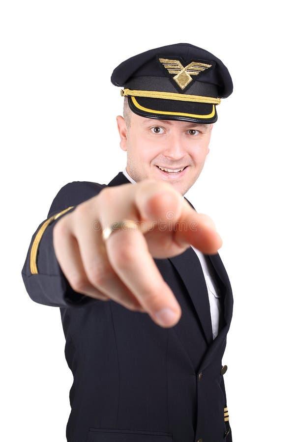 Pilot på vit bakgrund royaltyfri bild