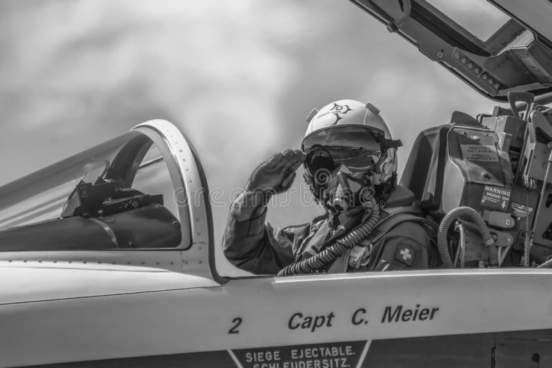 Pilot of the Patrouille Suisse Royal aerobatic team. Swiss air force. Air Force Open Days Friday 14  June 2019 at Volkel in the Ne stock images