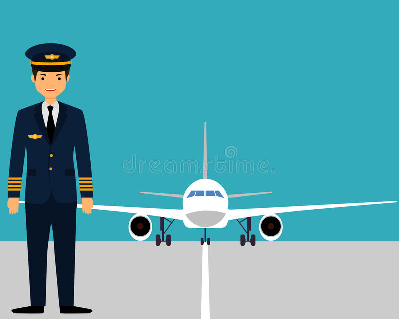 The pilot on the runway. Near the plane. Vector illustration stock illustration
