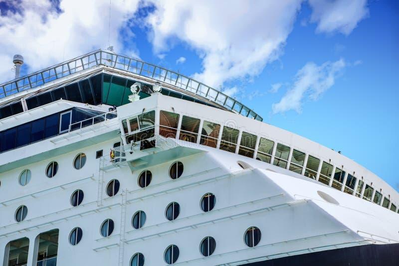 Bridge and Portholes on Cruise Ship stock photo