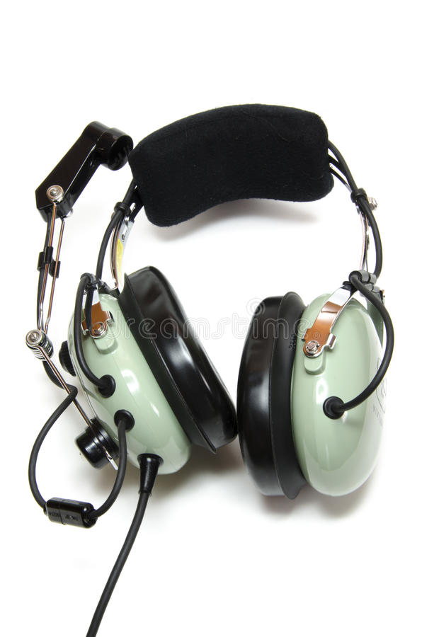 Pilots headsets with microphone. Headsets for pilots with a white background royalty free stock images