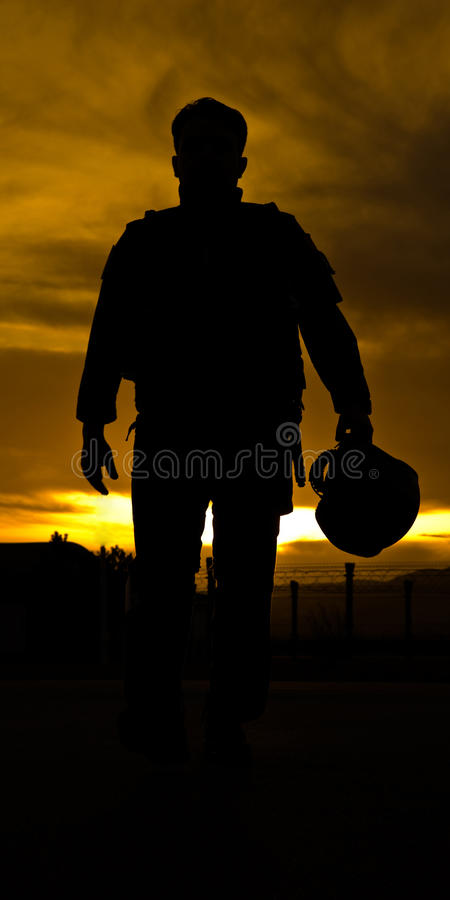 Download Pilot's Silhouette stock image. Image of suit, sunset - 13031121