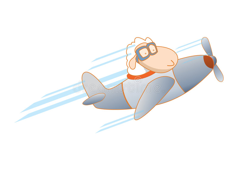 Pilot sheep on plane stock illustration