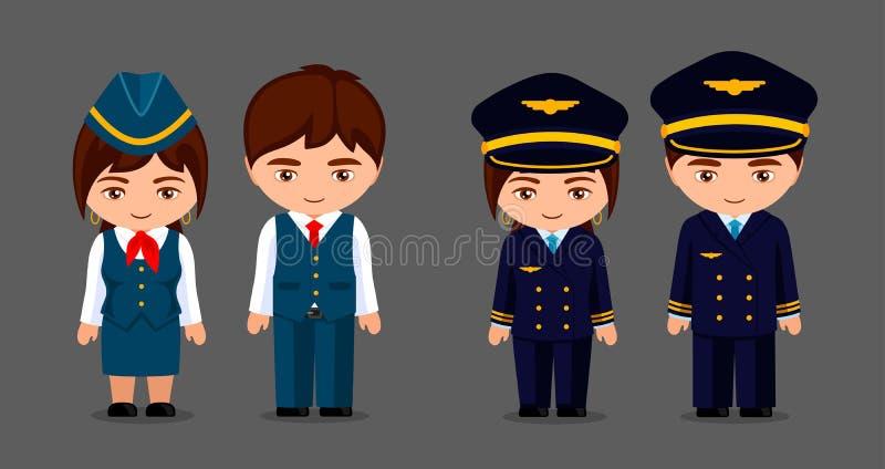 Pilot, stewardesa i ekonom, Lotnictwo cywilne zawody Mała kreskówki dziewczyna, chłopiec w mundurze i Kawaii kresk?wka ilustracja wektor