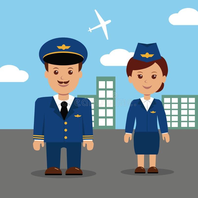 Pilot and stewardess in uniform. royalty free illustration