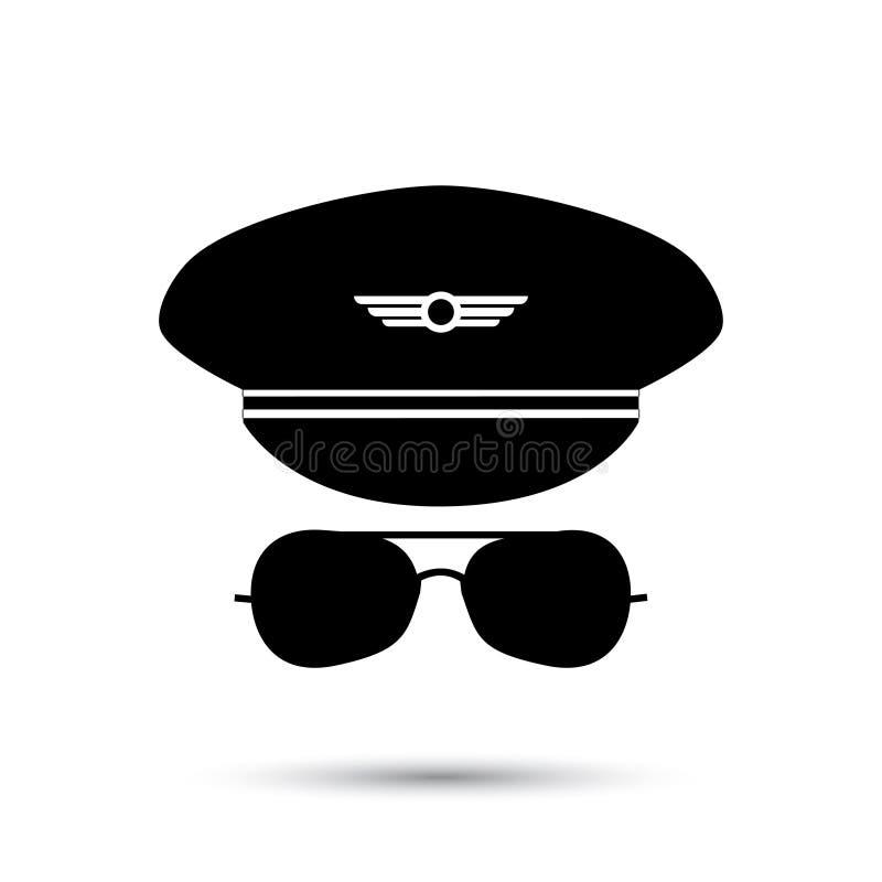Pilot- svart symbolskontur royaltyfri illustrationer