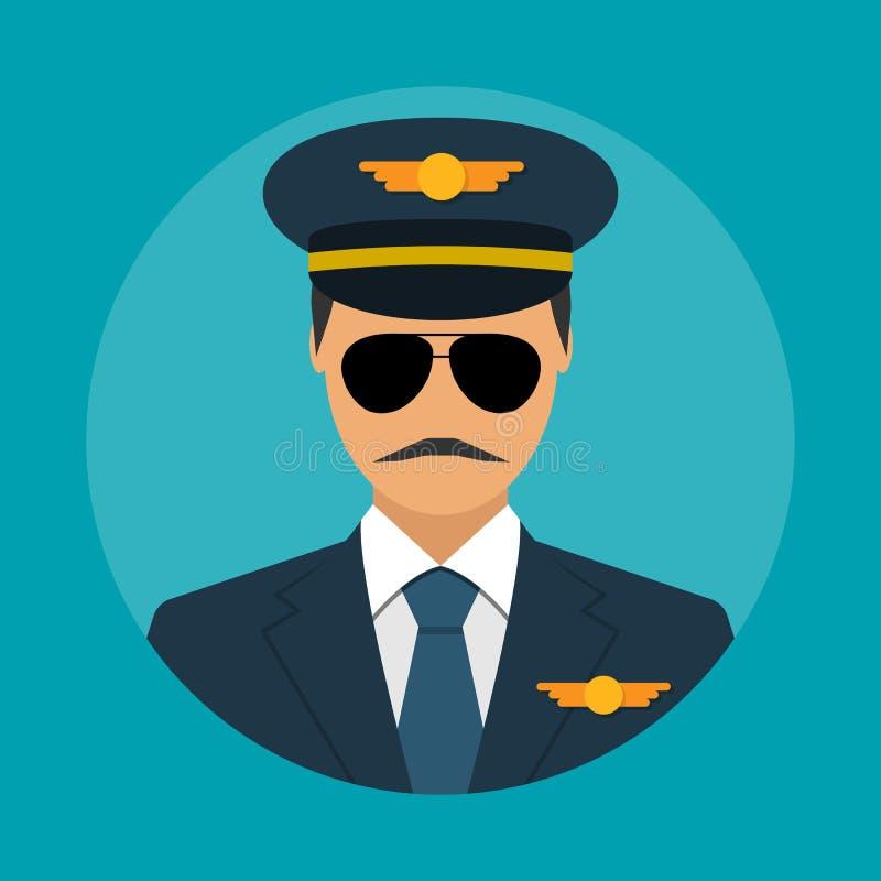 Pilot- symbolslägenhet royaltyfri illustrationer
