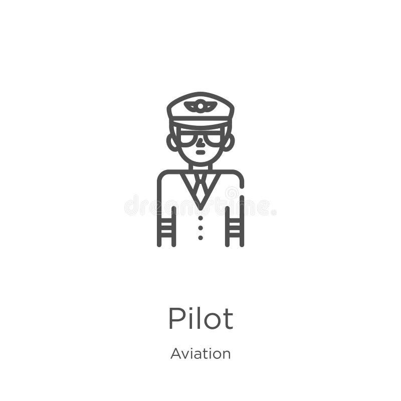 pilot- symbolsvektor fr?n flygsamling Tunn linje illustration f?r vektor f?r pilot?versiktssymbol ?versikt tunn linje pilotsymbol vektor illustrationer