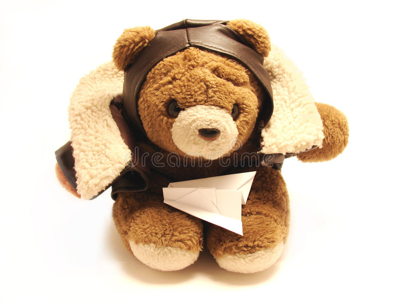 pilot teddy bear obrazy royalty free