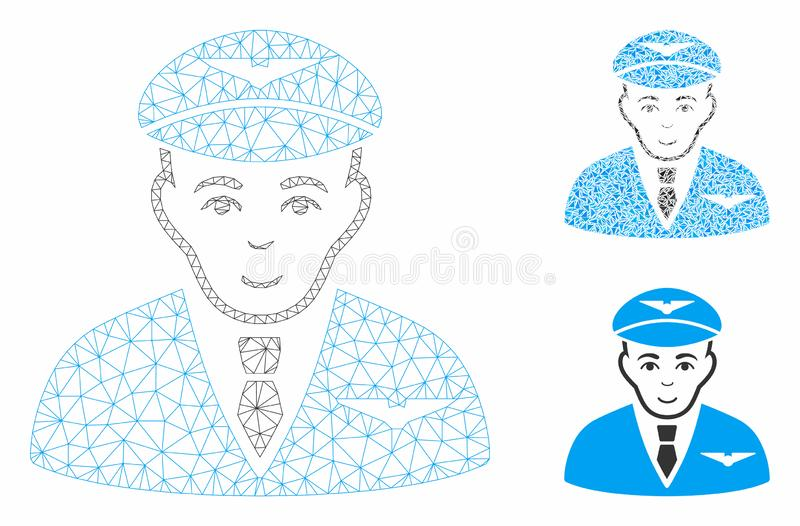 Pilot Vector Mesh Network Model and Triangle Mosaic Icon royalty free illustration