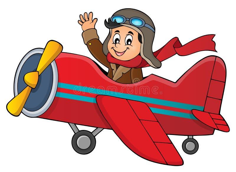 Pilot w retro samolotowym tematu wizerunku 1 ilustracja wektor