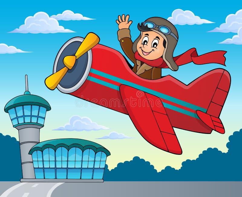 Pilot w retro samolotowym tematu wizerunku 2 ilustracja wektor