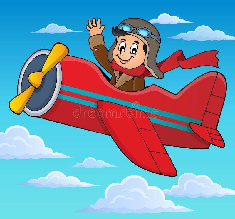 Pilot w retro samolotowym tematu wizerunku 3 royalty ilustracja