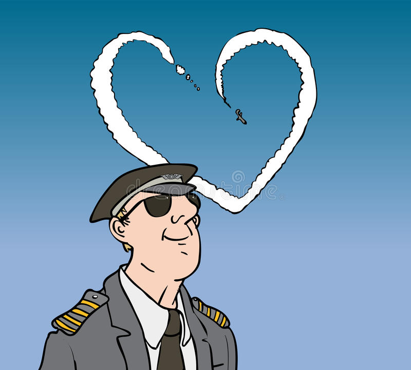 Pilot. Watching plane with love shaped trail stock illustration