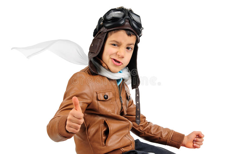 Pilot. Young boy pilot isolated in white royalty free stock photo