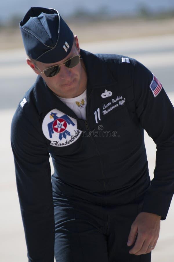 Pilota dei Thunderbirds dell'aeronautica di Stati Uniti immagine stock