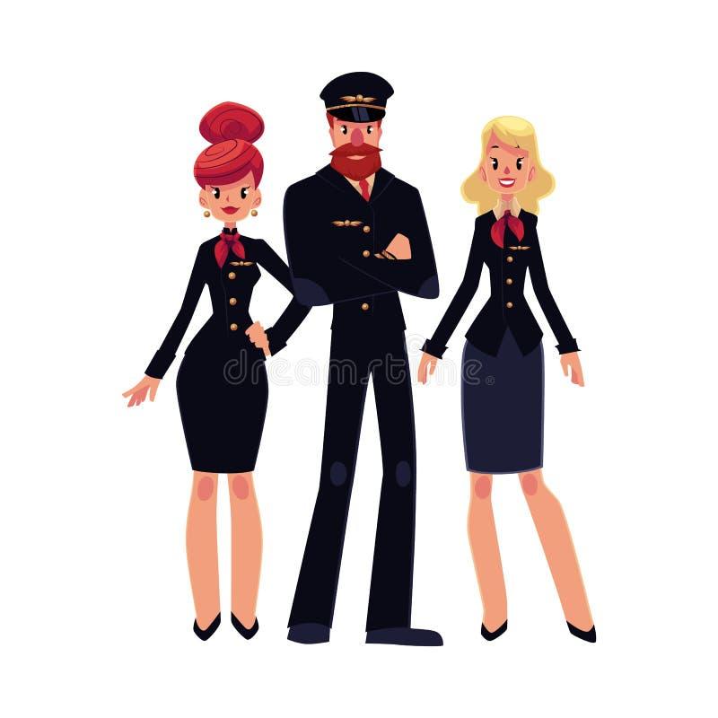 Pilota di linea aerea e due sorveglianti di volo, hostess in uniforme del nero illustrazione di stock