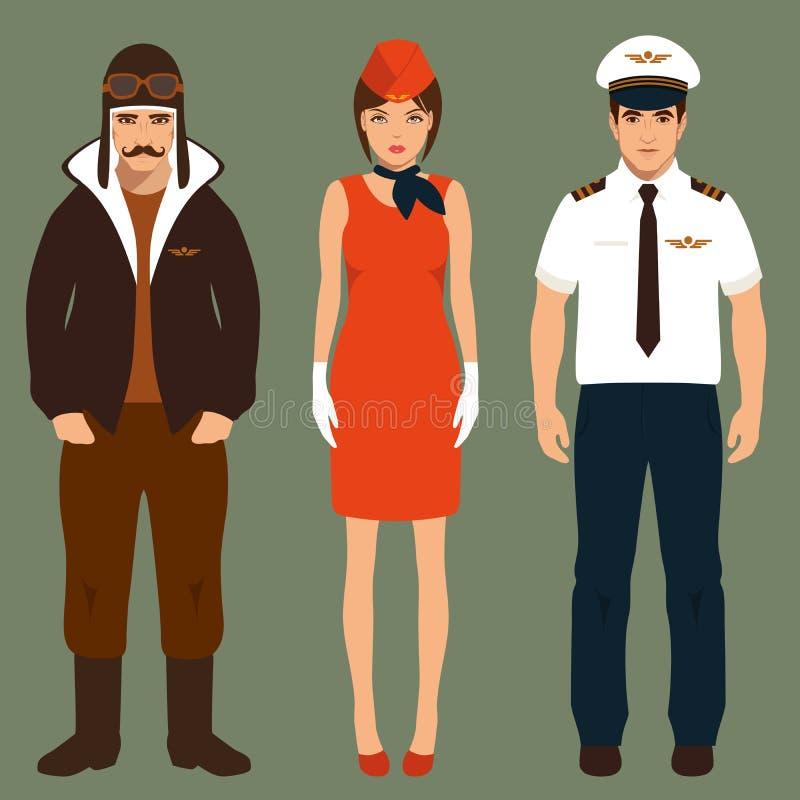 Pilota e hostess, illustrazione vettoriale