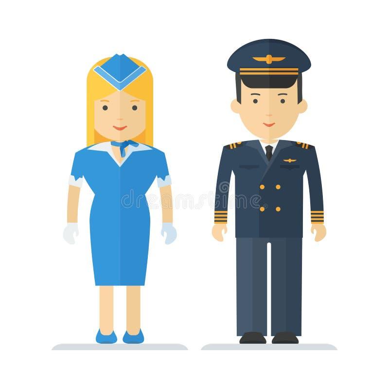 Pilota e hostess di professione illustrazione vettoriale