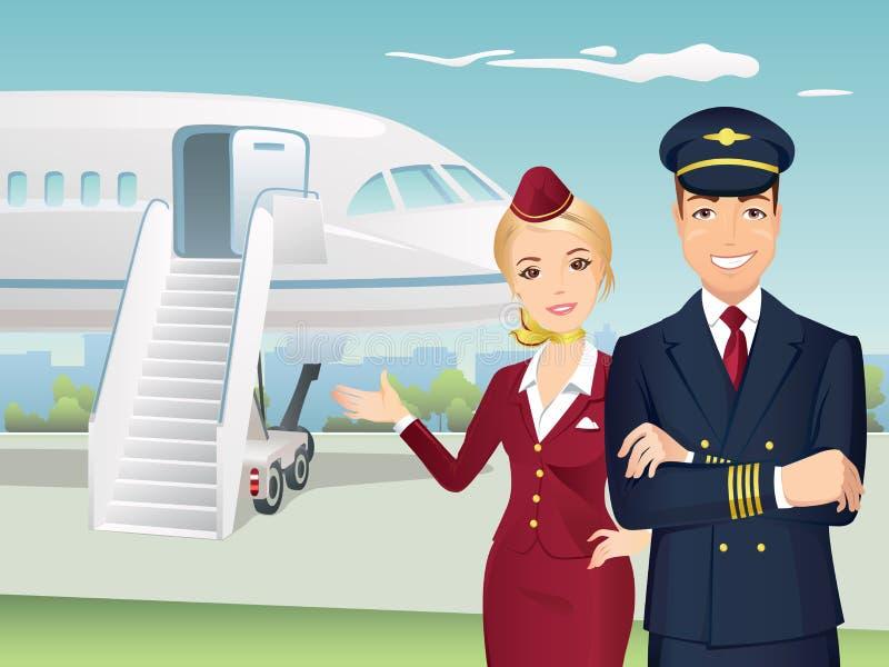 Pilota e sorvegliante di volo delle linee aeree commerciali con i precedenti dell'aeroplano illustrazione di stock