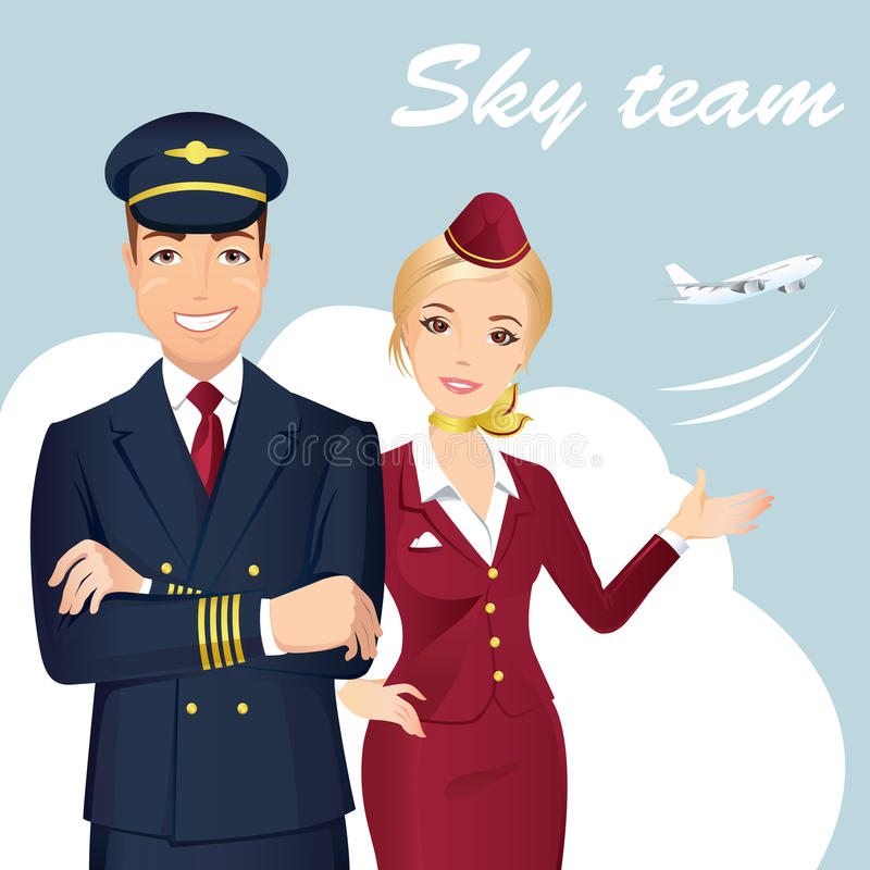 Pilota e sorvegliante di volo delle linee aeree commerciali con l'aeroplano sui precedenti illustrazione vettoriale