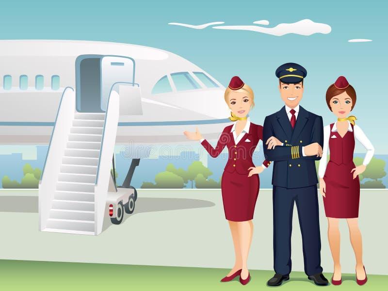 Pilota e sorveglianti di volo delle linee aeree commerciali con i precedenti dell'aeroplano illustrazione vettoriale