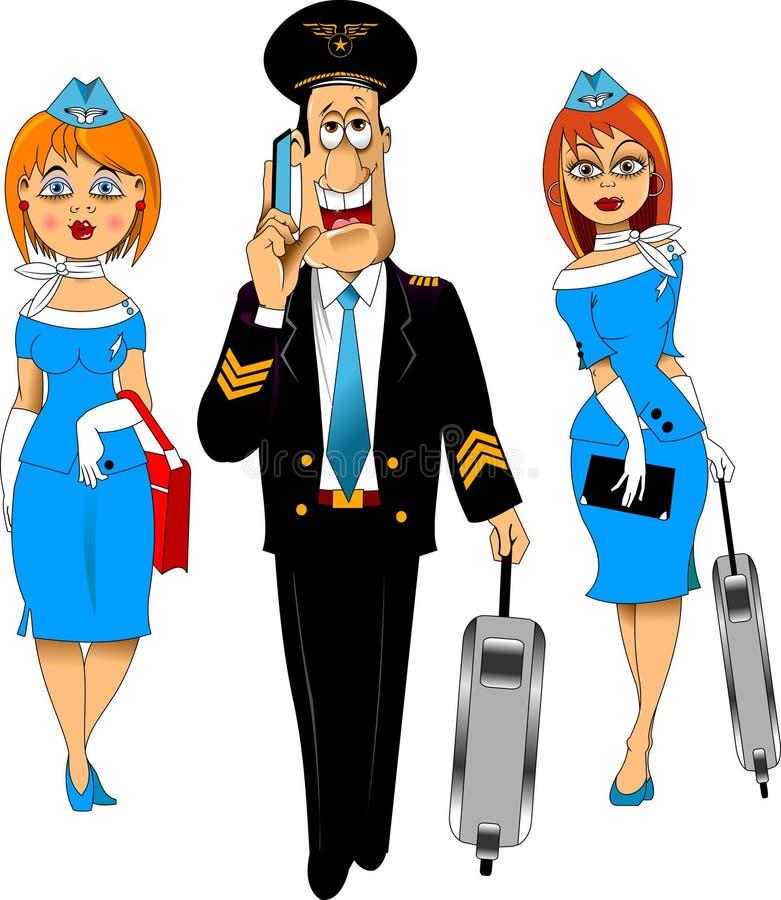 Pilota e sorveglianti di volo illustrazione di stock
