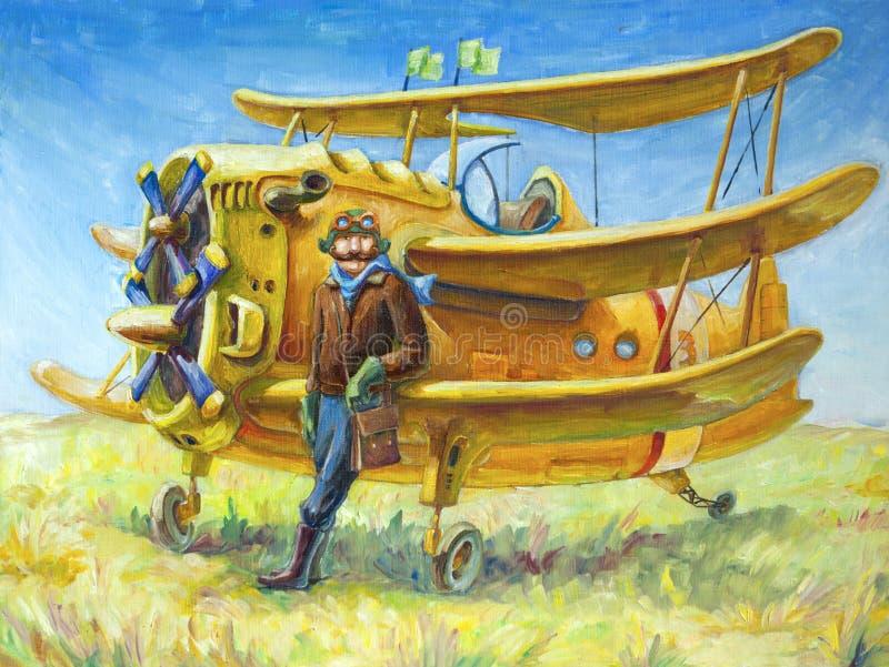 Pilota ed il suo aereo illustrazione vettoriale