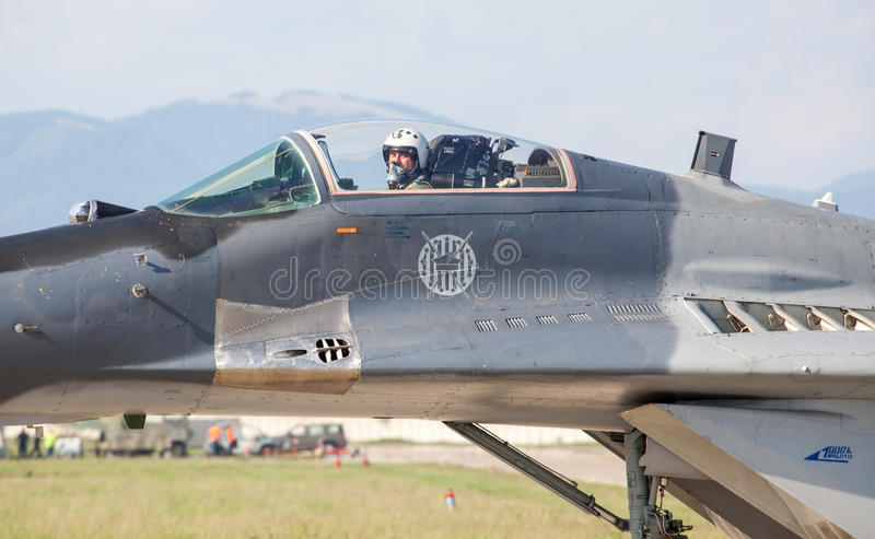 Pilota in fulcro Mig-29 fotografia stock