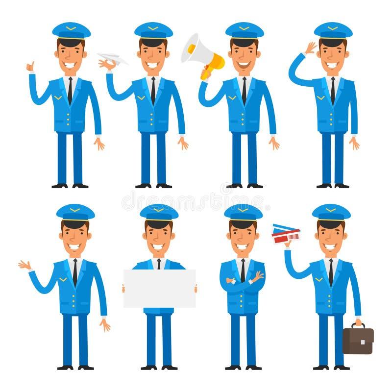 Pilota nelle pose differenti illustrazione di stock