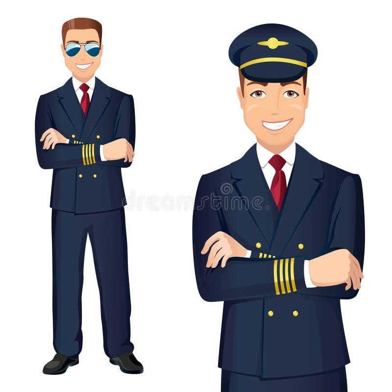 Pilota In Uniform di linee aeree commerciali illustrazione vettoriale
