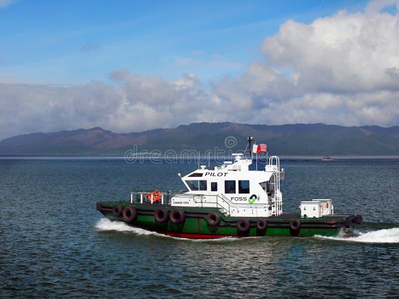 Pilote Boat, Astoria Orégon du fleuve Columbia photographie stock libre de droits