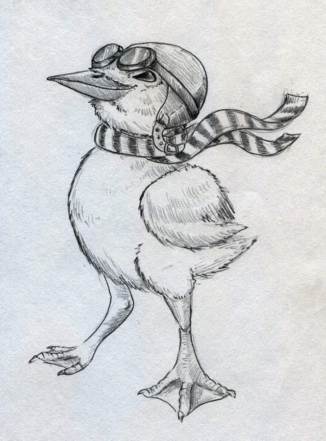 Pilote cartoonish courageux de caneton illustration de vecteur